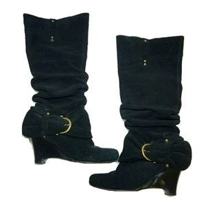 Naughty Monkey Black Suede Boots Size 6 Inspector